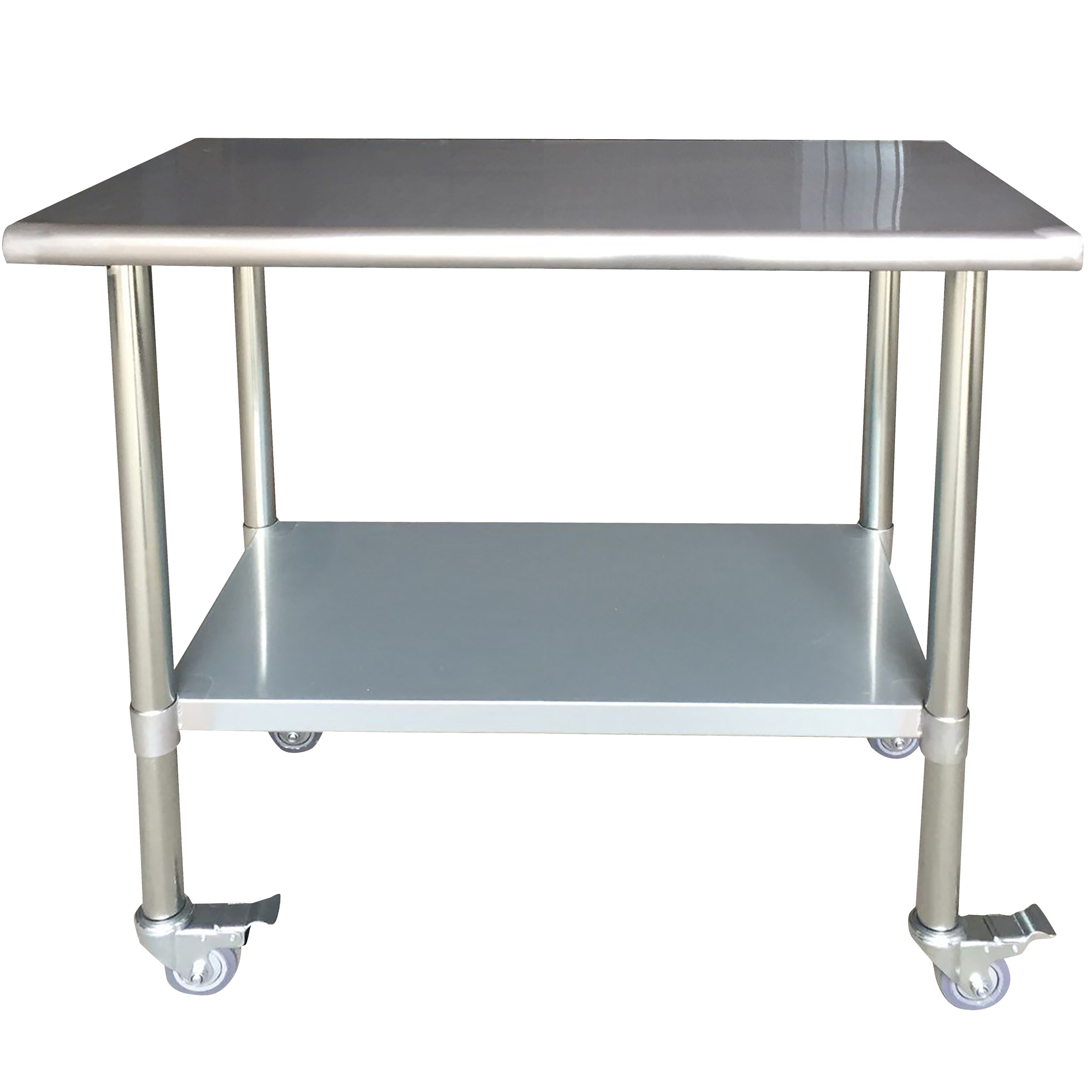 Stainless Steel Work Table with Casters 24 x 48 Inches