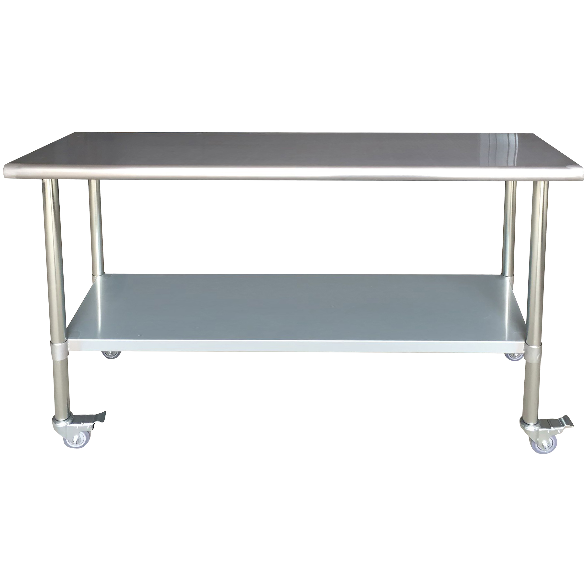 Stainless Steel Work Table with Casters 24 x 72 Inches