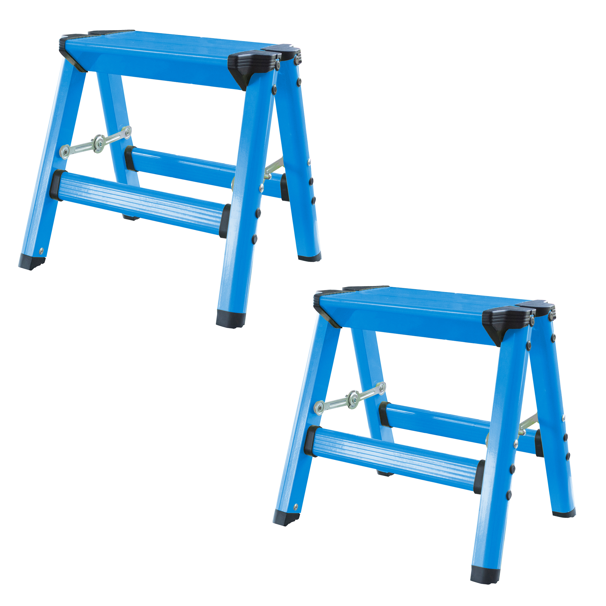 AmeriHome Lightweight Single Step Aluminum Step Stool 2 Piece Set  - Bright Blue