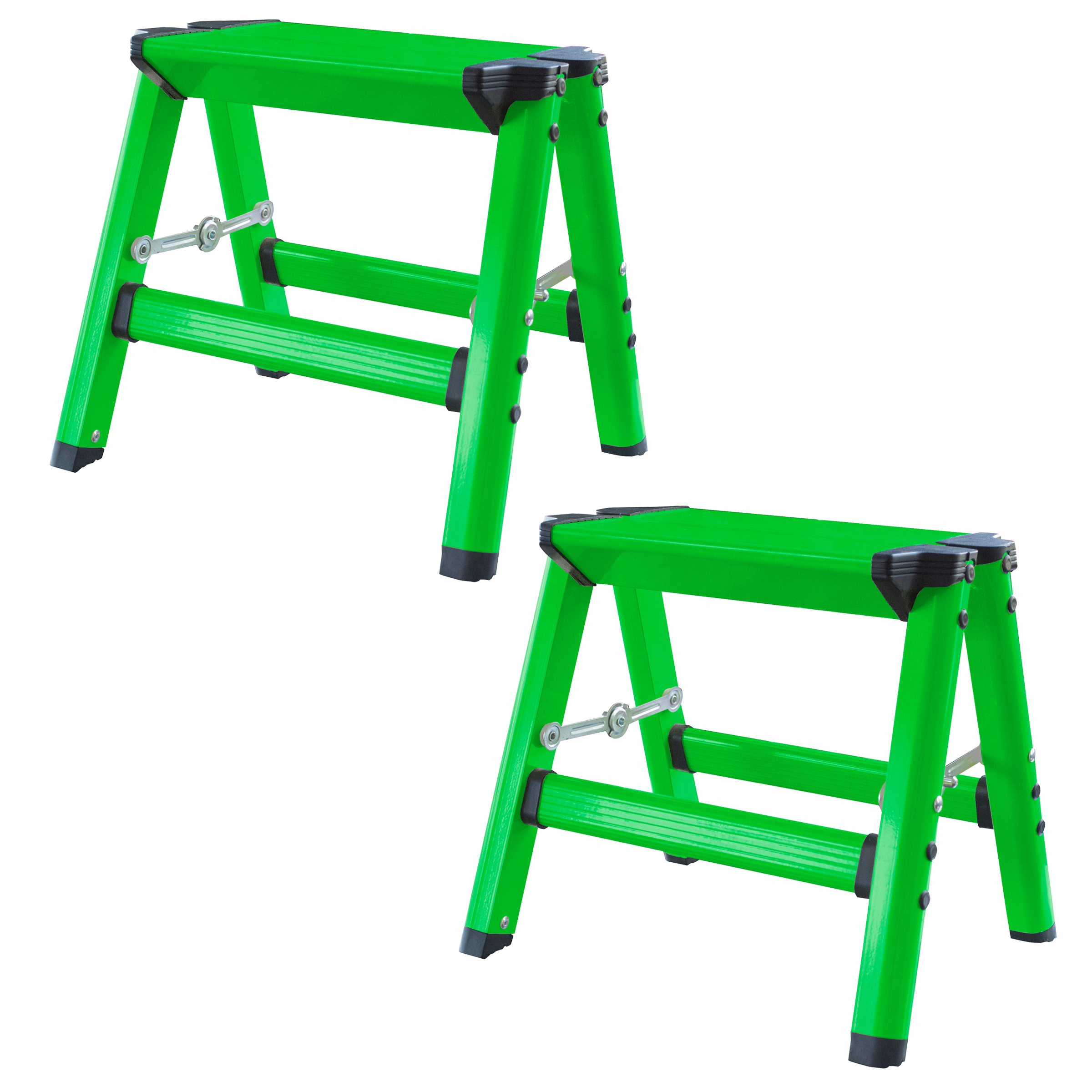 AmeriHome Lightweight Single Step Aluminum Step Stool 2 Piece Set - Bright Green