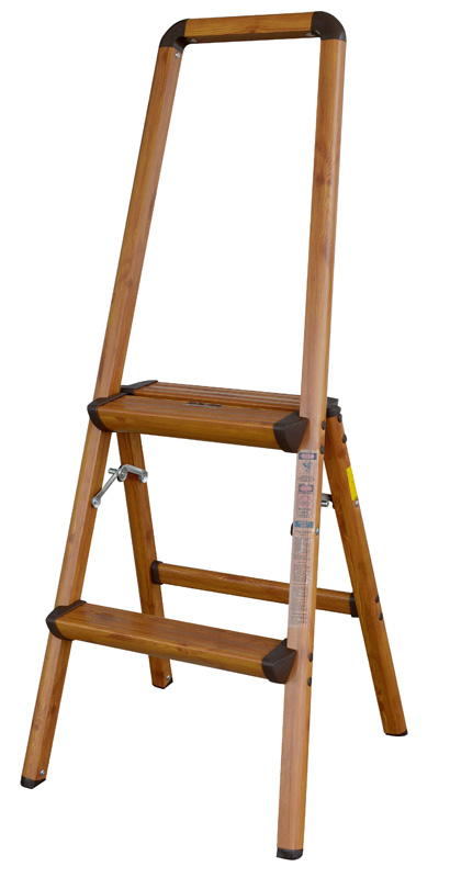 AmeriHome Lightweight Aluminum 2 Step Ladder with Faux Wood Finish