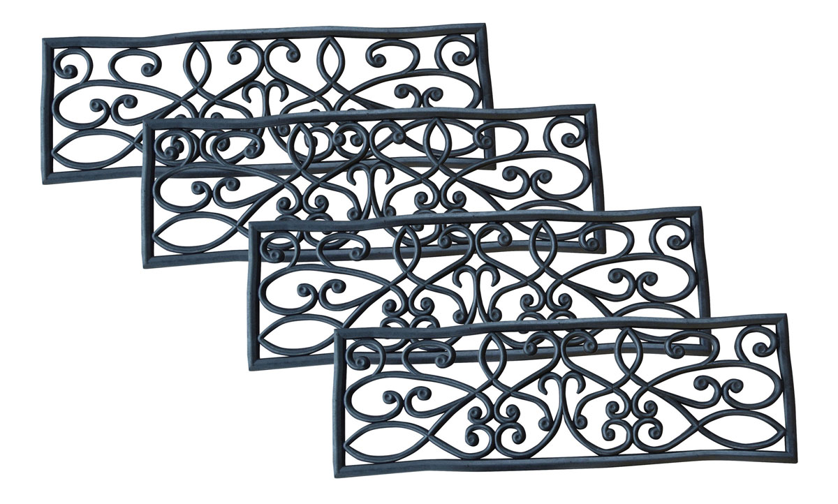 AmeriHome Rubber Scrollwork Stair Tread 4 Pack