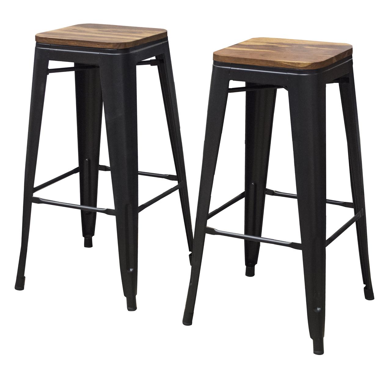 "2 Piece 30"" Bar Stool Set with Rosewood Top and Metal Legs"