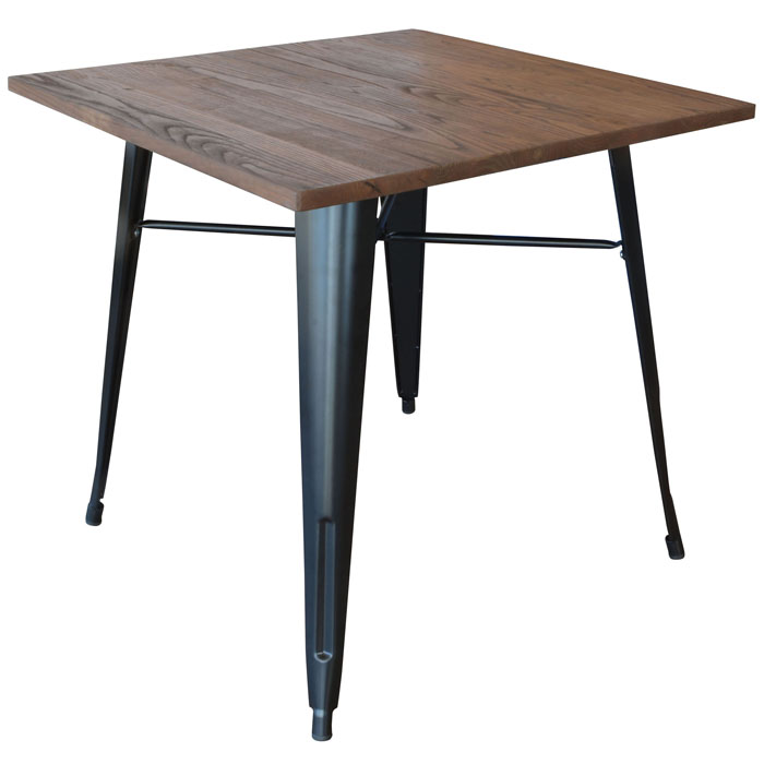 Loft Black Metal Dining Table with Wood Top