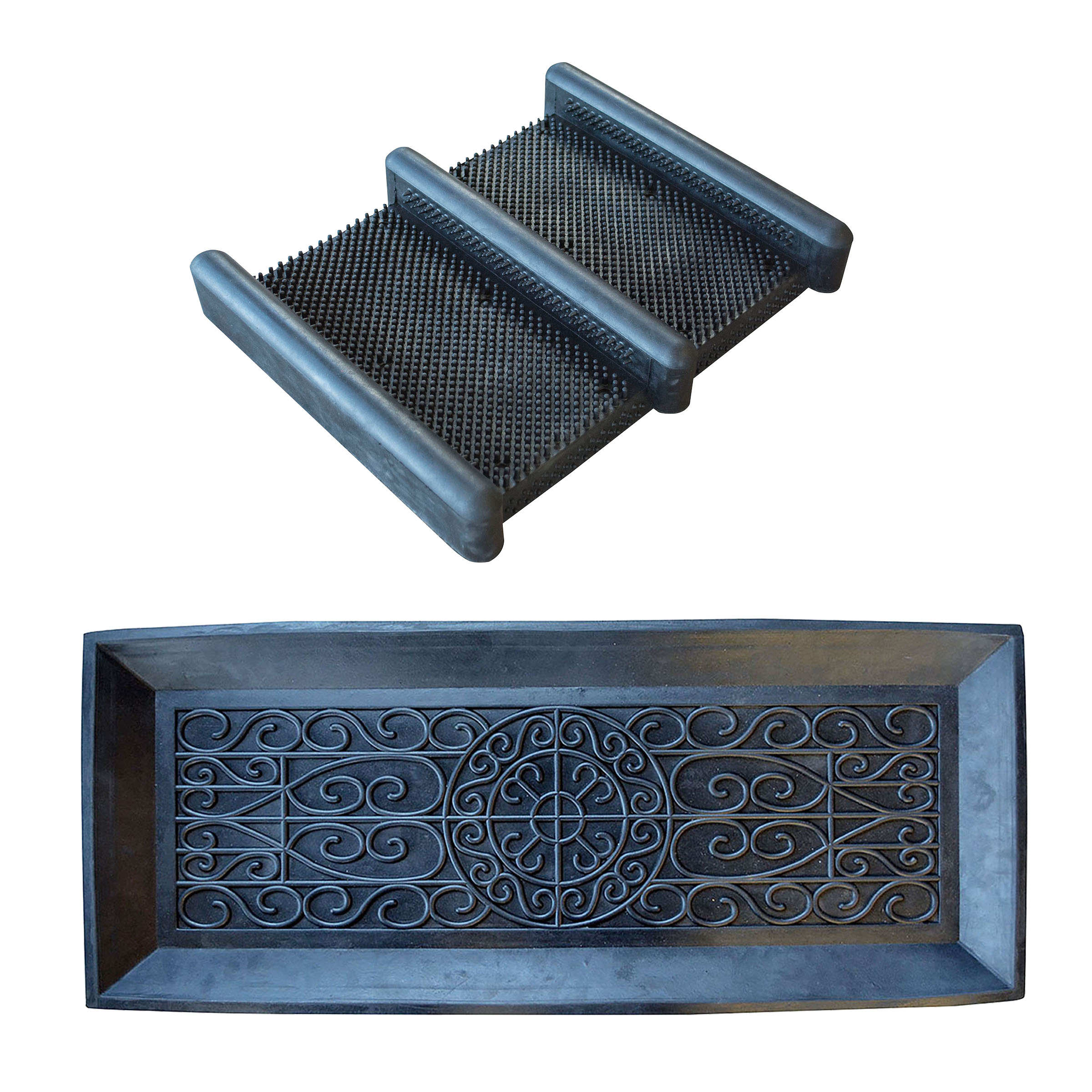 AmeriHome Rubber Boot Tray and Scraper 2 Piece Set