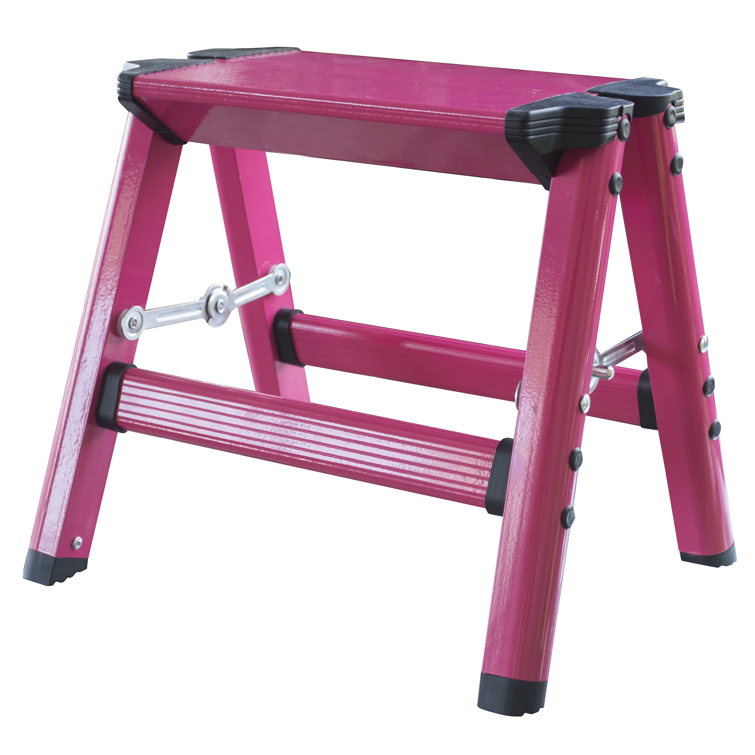 AmeriHome Lightweight Single Step Aluminum Step Stool - Bright Pink