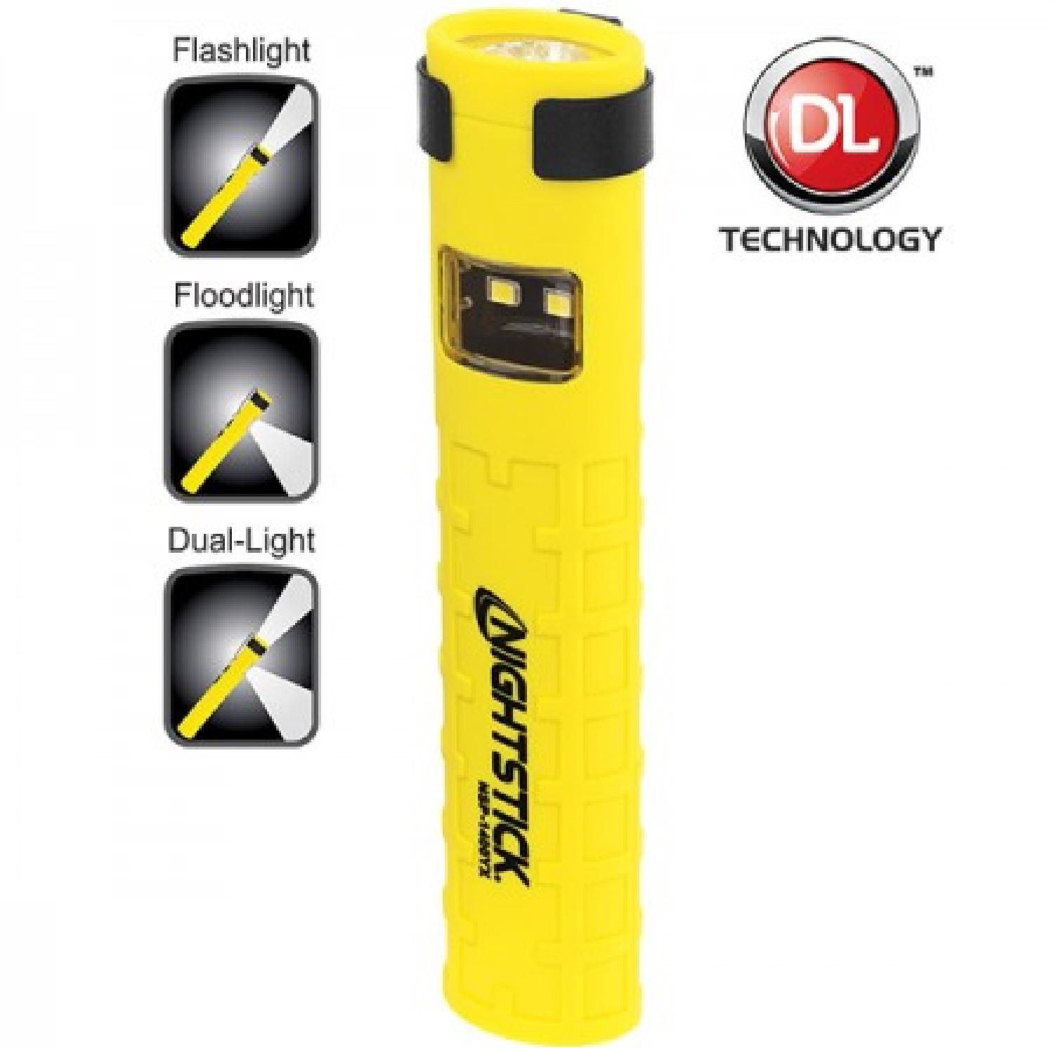 Nightstick Dual-Switch Dual-Light Flashlight  2 AAA Yellow