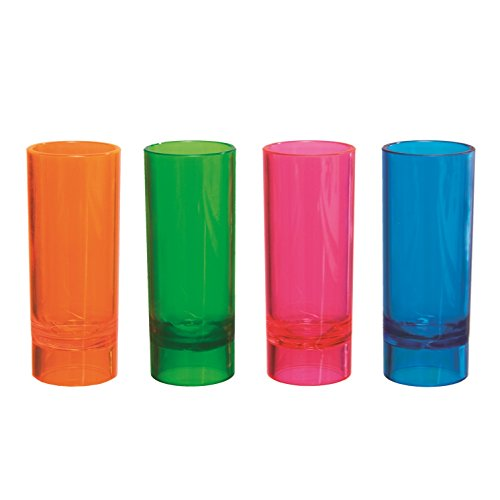2 oz Shooter Glasses Assorted Neon 10 ct boxes