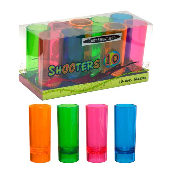 2 oz Shooter Dispenser Assorted Neon 18 ct