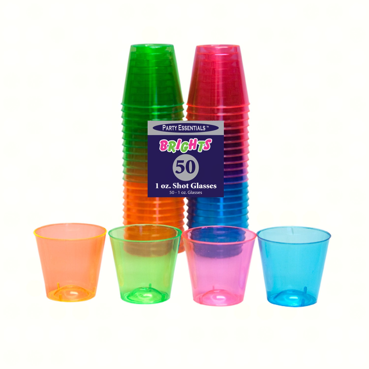 1 oz Shot Glasses. Assorted Neon 50 ct