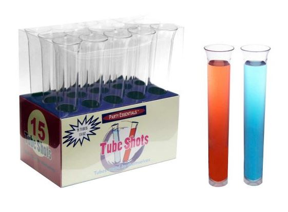 1.5 oz Tube Shots - Clear 15 ct boxes