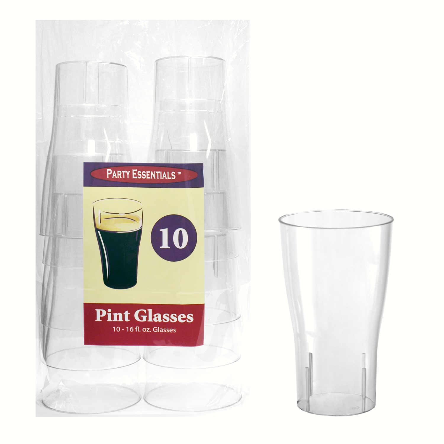 16 oz Pint Glasses Clear 10 ct
