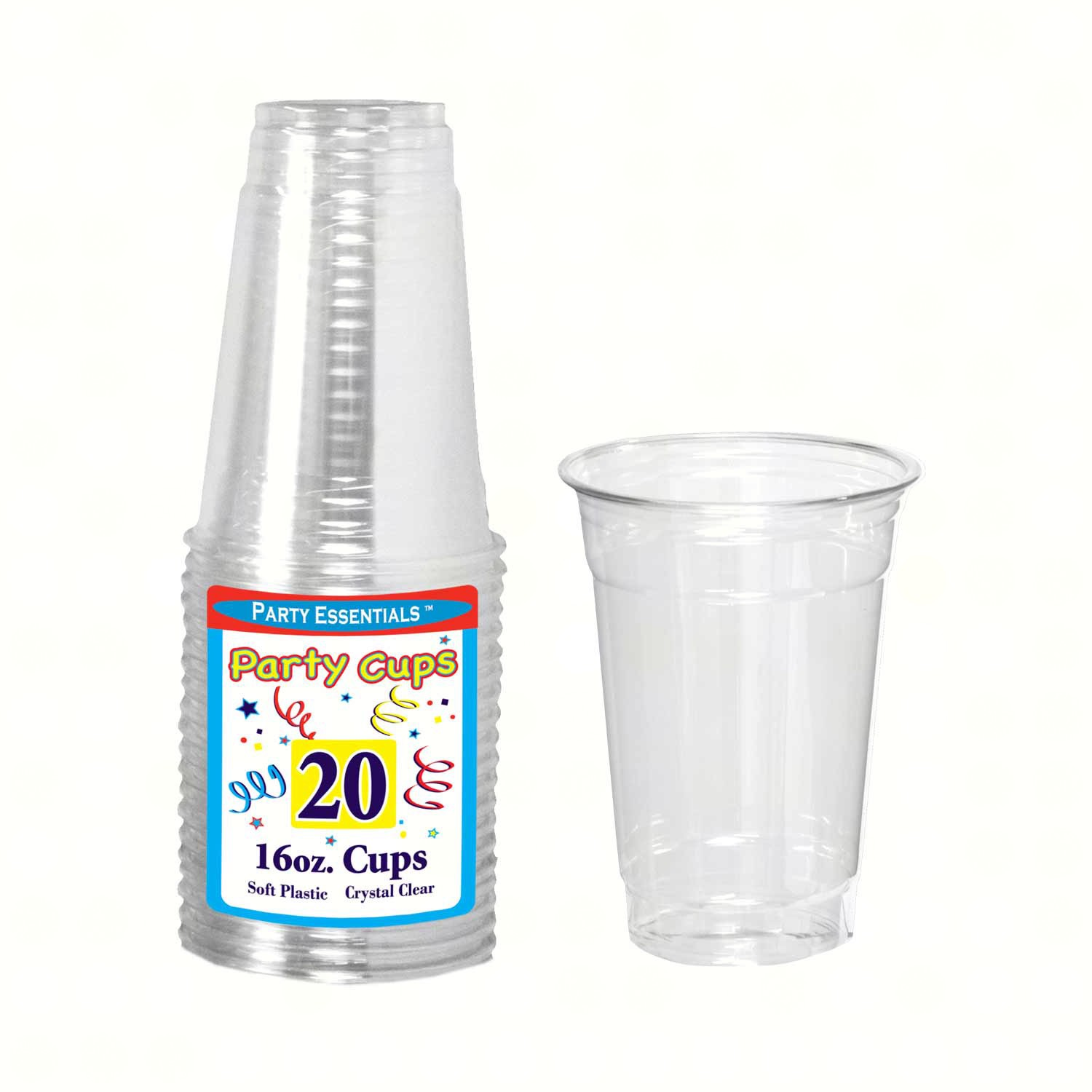 16 oz Soft Plastic Cups Clear 20 ct