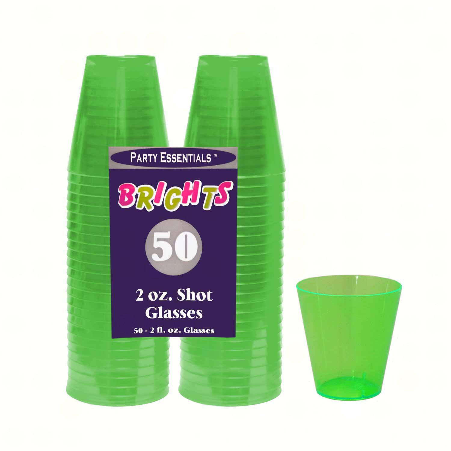 2 oz Shot Glasses Neon Green 50 ct