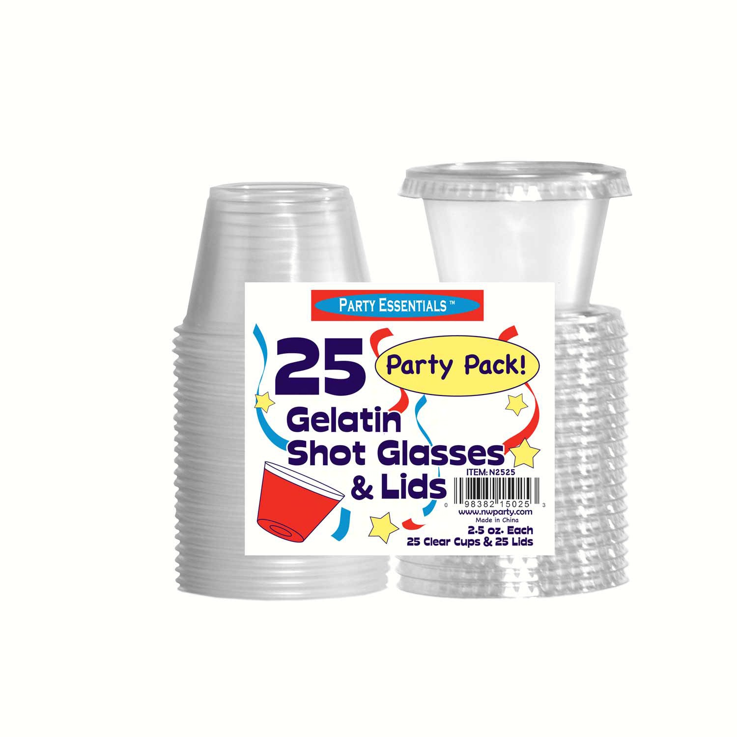2.5 oz Shot Glasses & Lids. Clear 25 ct