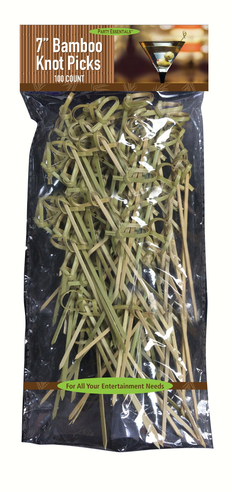 7 inch Bamboo Knot Picks. 100 ct
