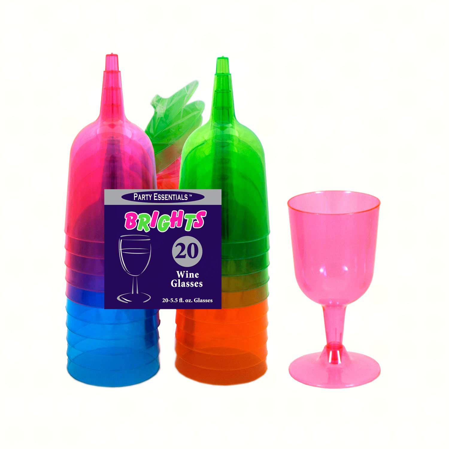 2 pc 5.5 oz Wine Glasses. Assorted Neon 20 ct