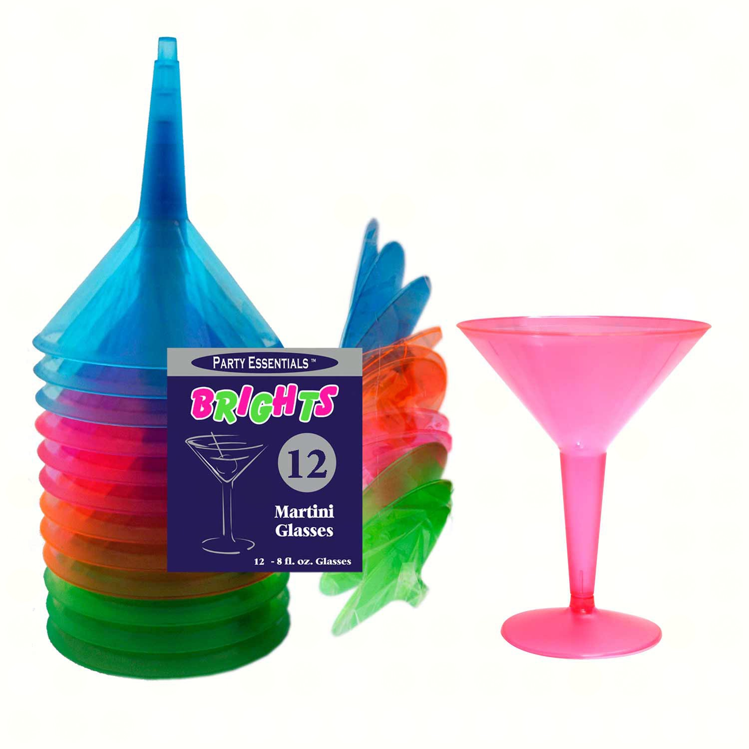 2 pc 8 oz Martini Glasses Assorted Neon 12 ct