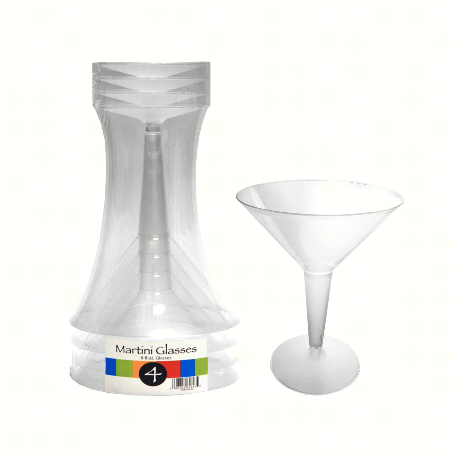 2 pc 8 oz Martini Glasses.  Clear  4 ct