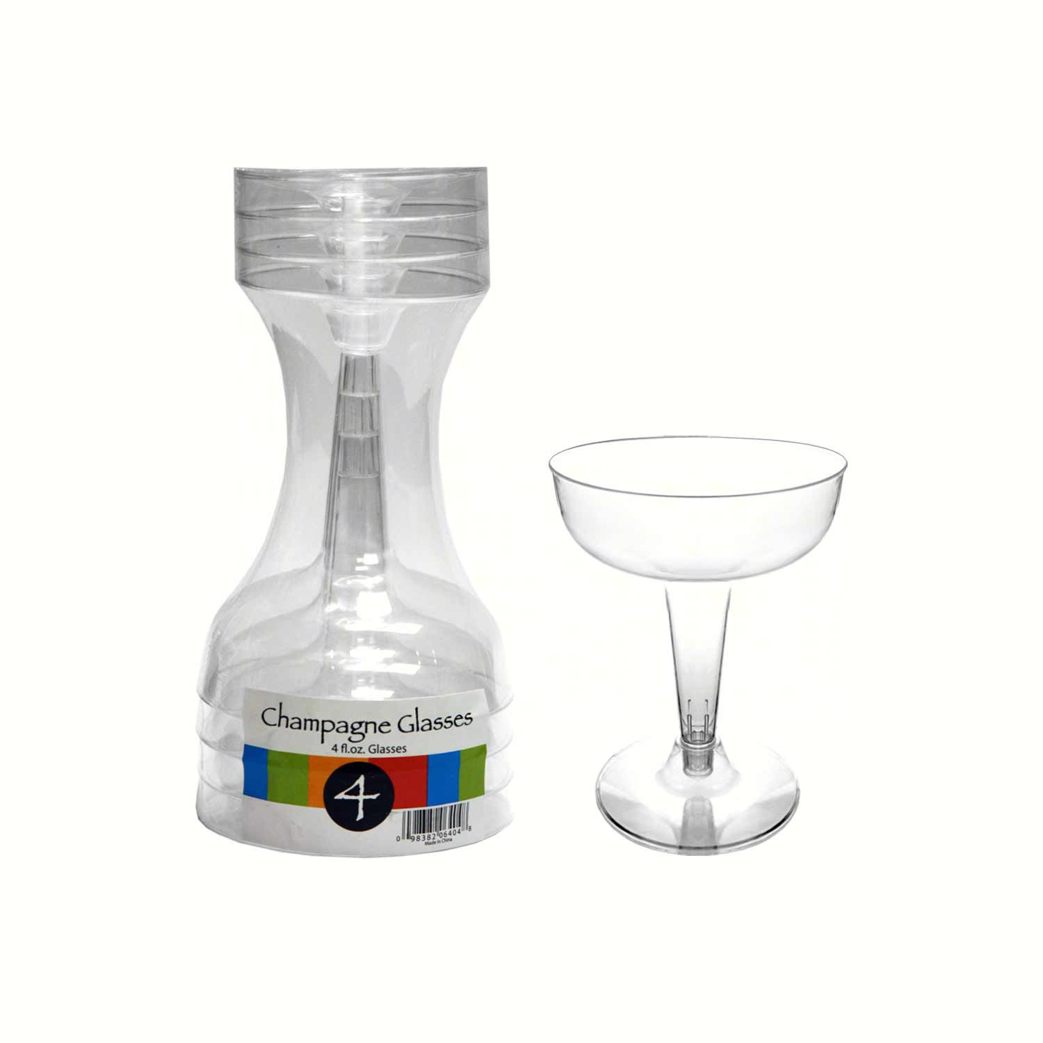 2 pc 4 oz Champagne Glasses. Clear 4 ct