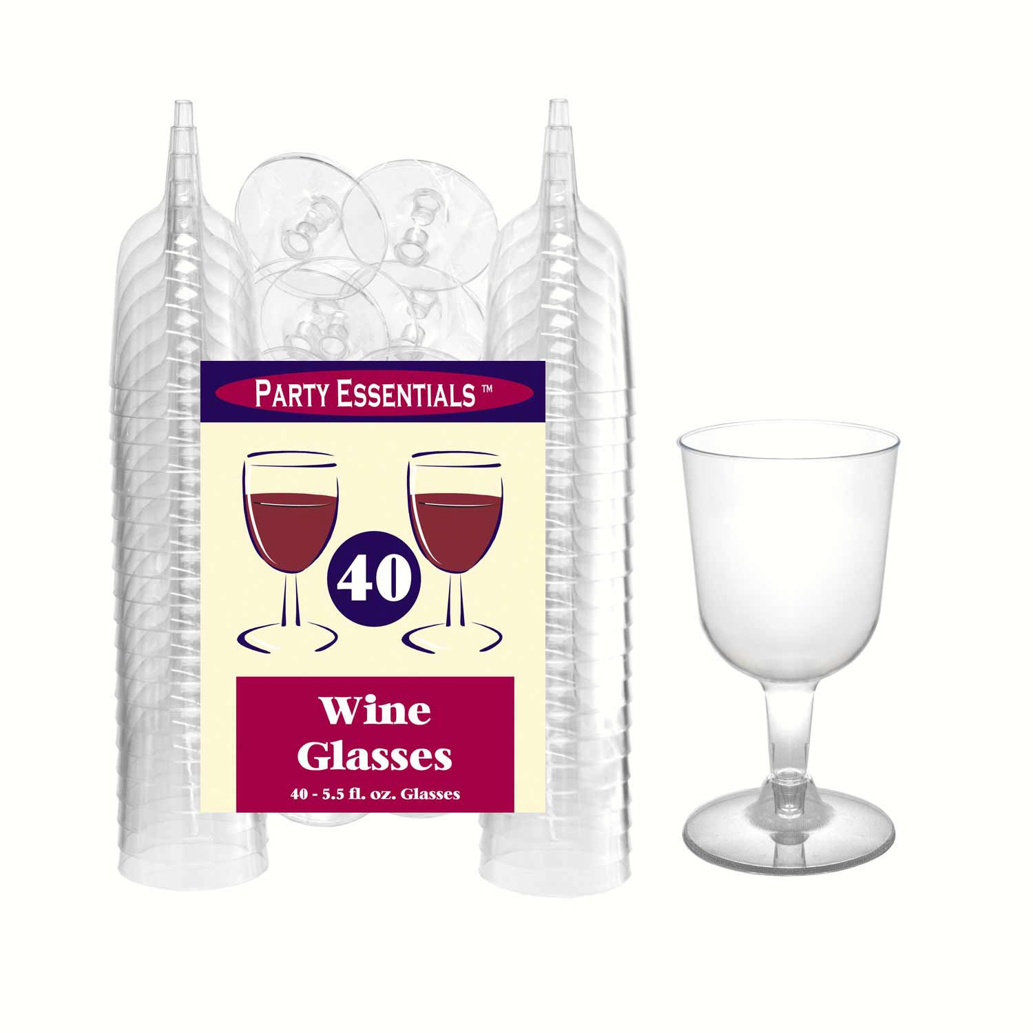 2 pc 5.5 oz Wine Glasses. Clear 40 ct