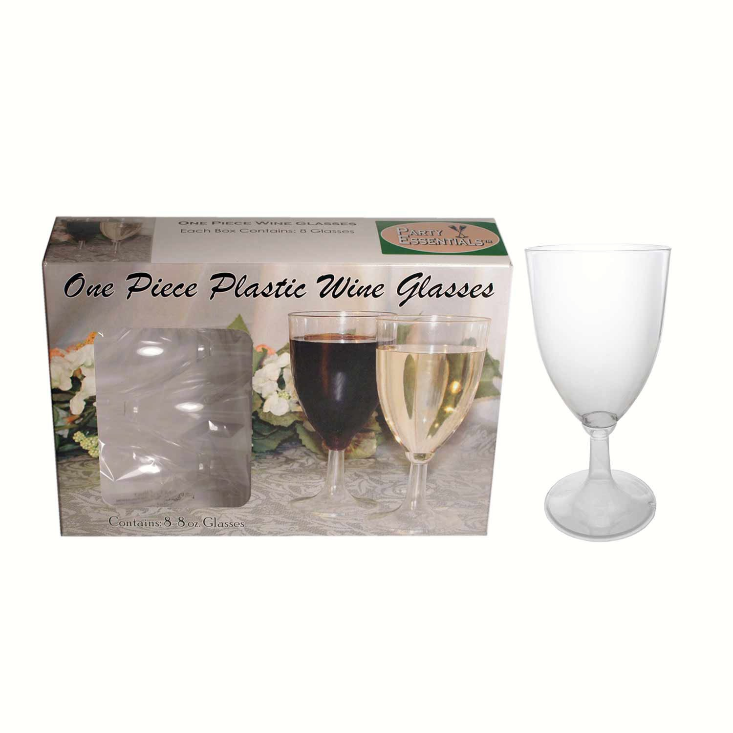 1 pc 8 oz Wine Glasses. Clear 8 ct boxes