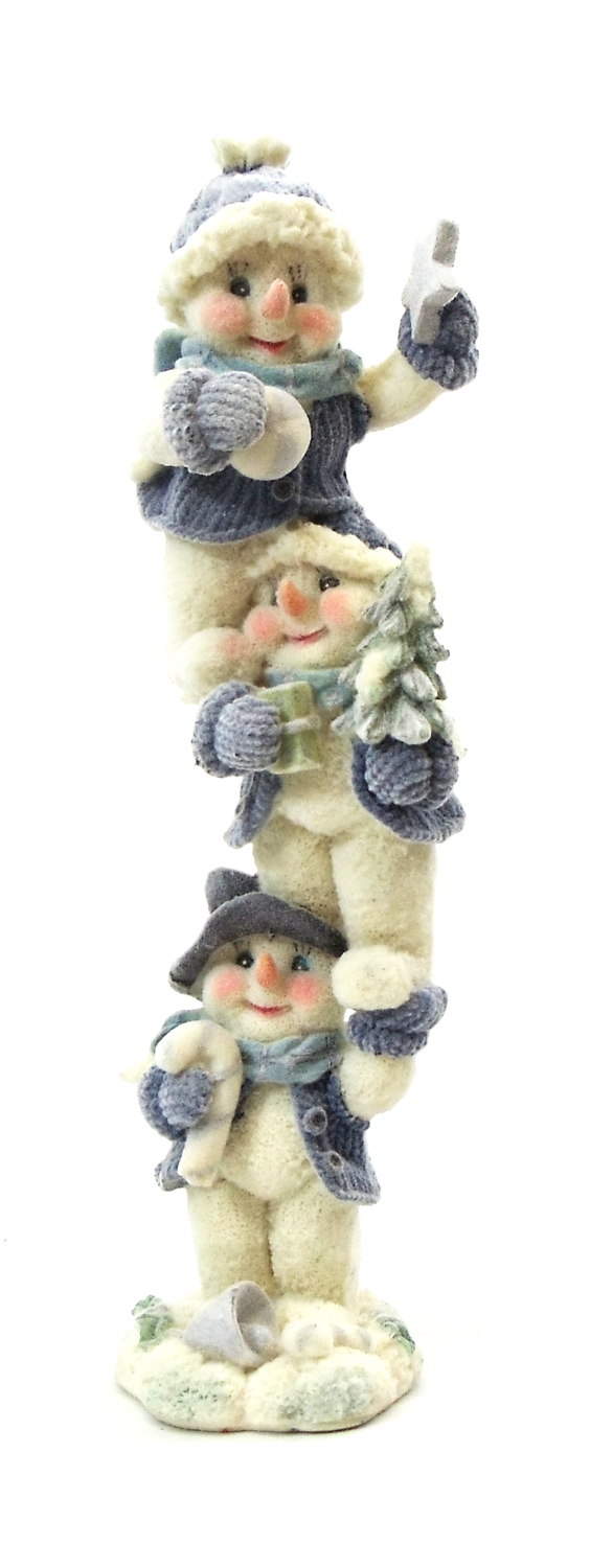 "8"" BLUE VELVET TOUCH RESIN SNOWMEN TOWER - HOLDING CANDY CANE"
