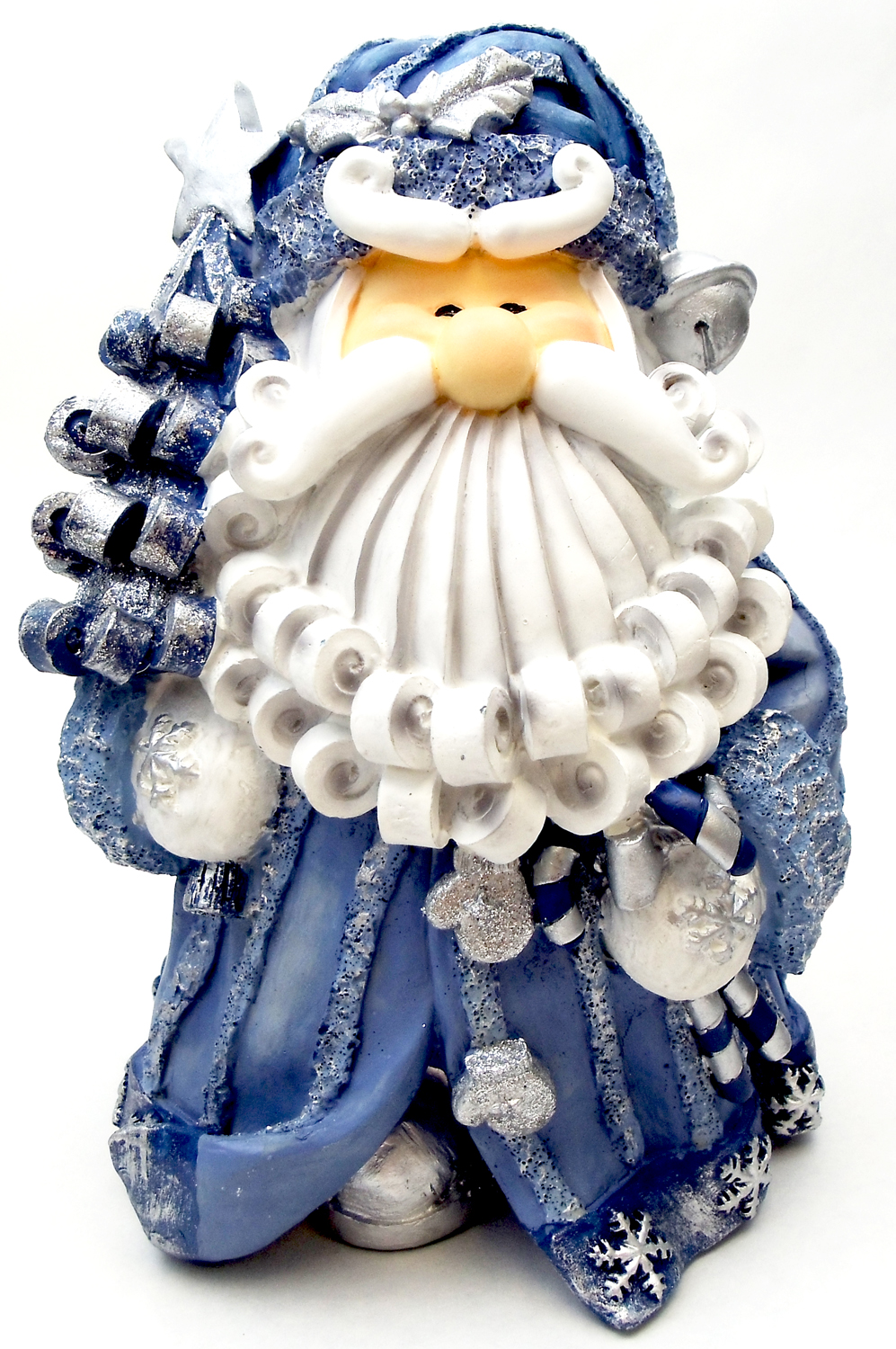 "8"" CURLY BEARD RESIN BLUE GLITTER SANTA WITH CHRISTMAS TREE"