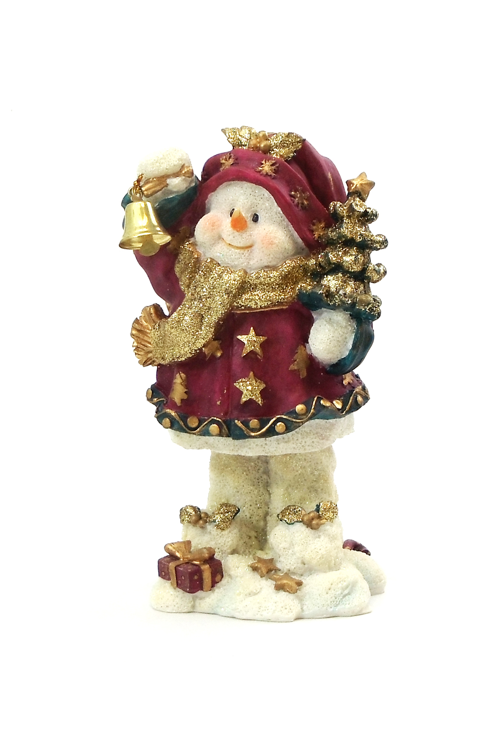 "6"" ""DING-A-LING"" SNOWMAN RED CHRISTMAS TREE RESIN STATUE"
