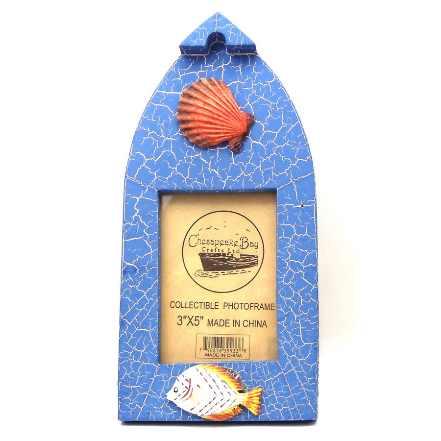 "CHESAPEAKE BAY CRAFTS LTD. WOODEN BOAT SHAPED 3"" X 5"" BLUE PICTURE FRAME WITH FISH & SHELL EMBELLISHMENTS"