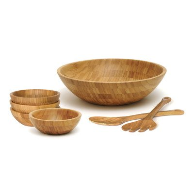 Lipper 8204/7 Bamboo Round Salad Bowl 7 Piece Set