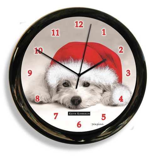 CALIFORNIA CLOCK 41615 BLACK AND WHITE DOG CLOCK  BY DESIGNER