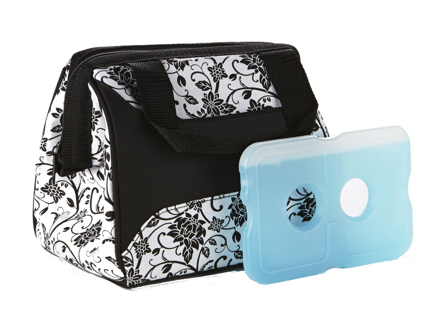 FIT & FRESH 372FF34 LUNCH BAG IN EBONY FLORAL WITH ICE YOUR