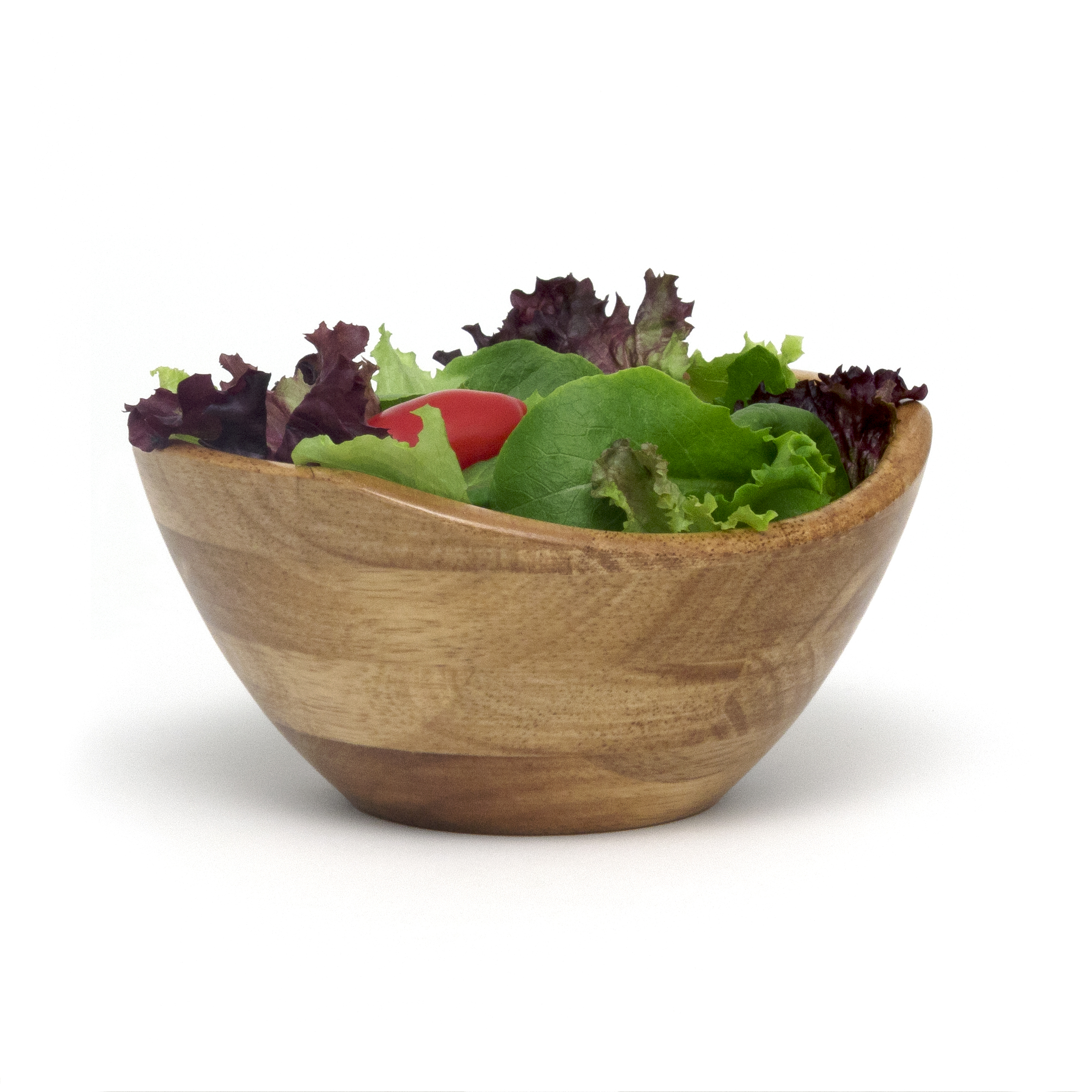 LIPPER 3173 WAVY RIM BOWLS WITH OAK FINISH HAVE A CLASSIC