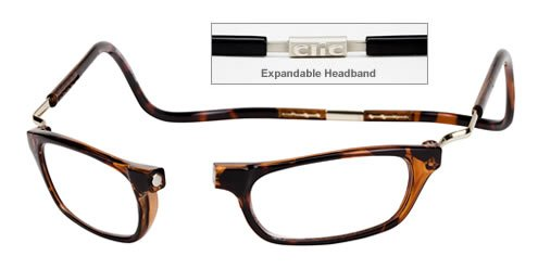 CLIC Dark Demi XXL200 BROWN READING GLASSES EXPANDABLE XXL200