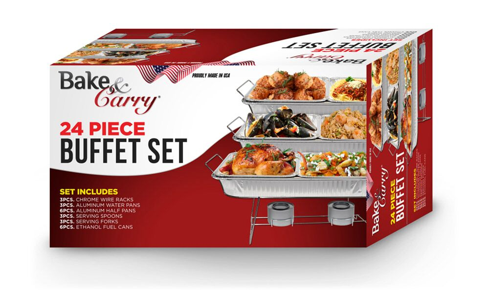BAKE & CARRY 88824 24 PIECE BUFFET SERVING SET 3PCS CHROME
