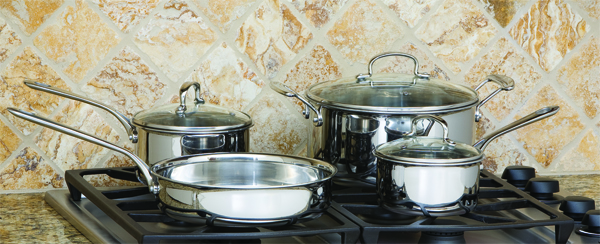 COOK PRO 506 STAINLESS STEEL COOKWARE SET 7PC TRI PLY 18 10