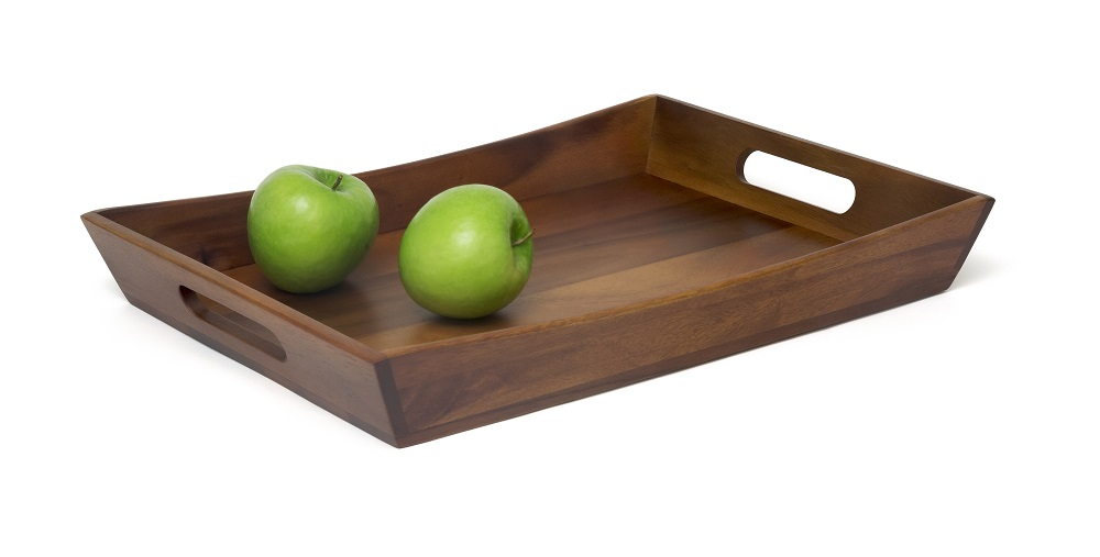 LIPPER 1165 ACACIA CURVED TRAY WITH CUT OUT HANDLES FOR A