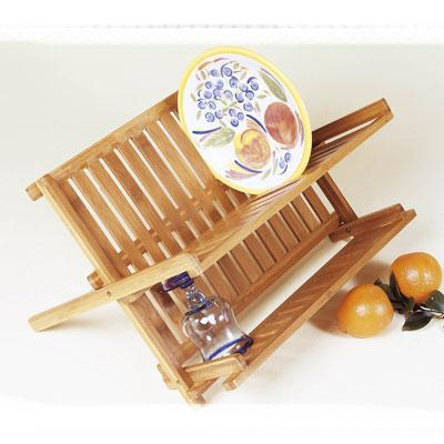 LIPPER 8813 BAMBOO FOLDING DISH RACK LIGHT WOOD COLOR EASY TO