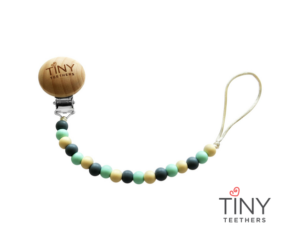 TINY TEETHERS PAC015 PACIFIER CLIP GREY MINT AND IVORY BEADS