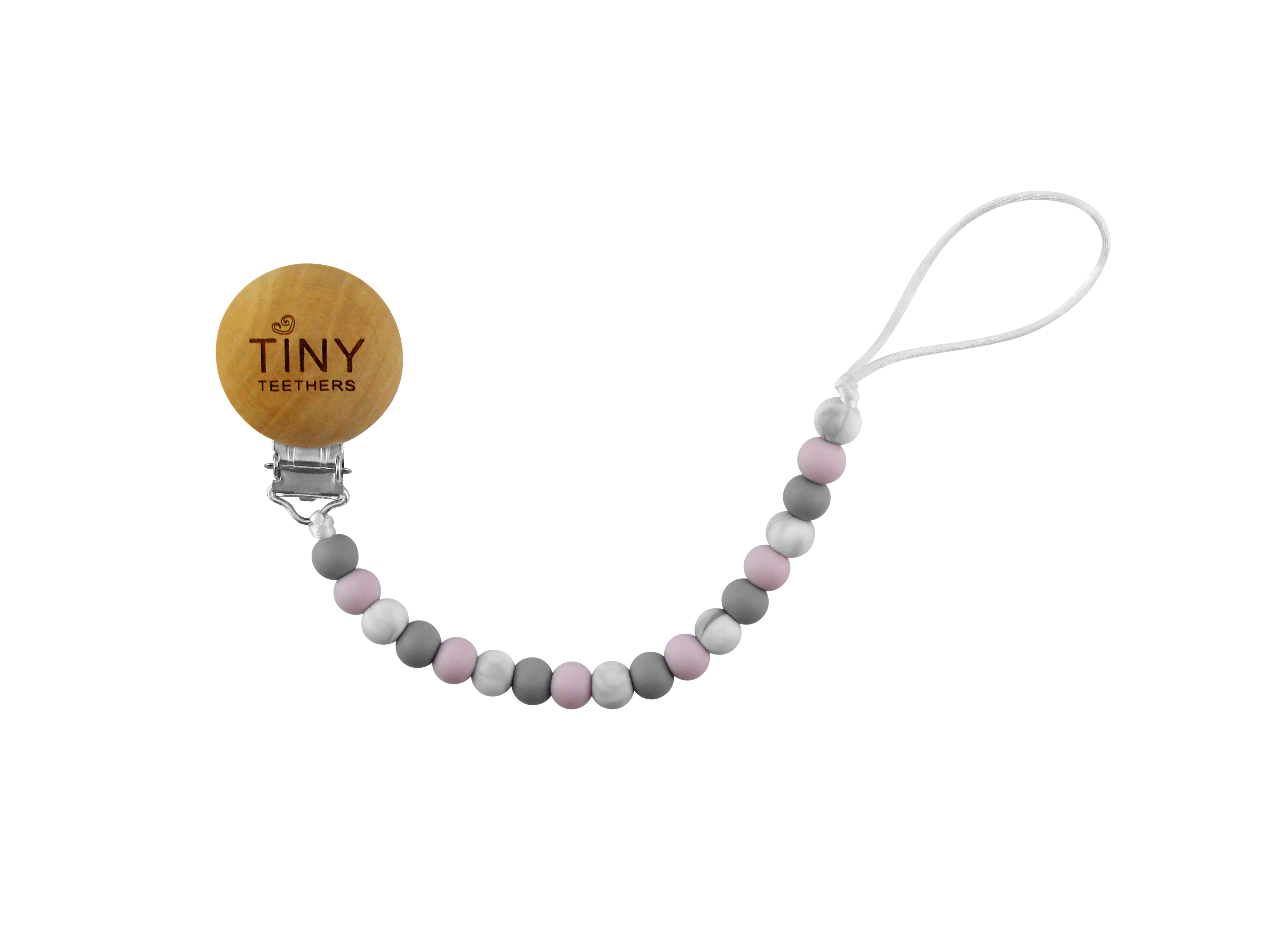 TINY TEETHERS PAC026 PACIFIER CLIP GRAY LAVENDER MARBLE BEADS