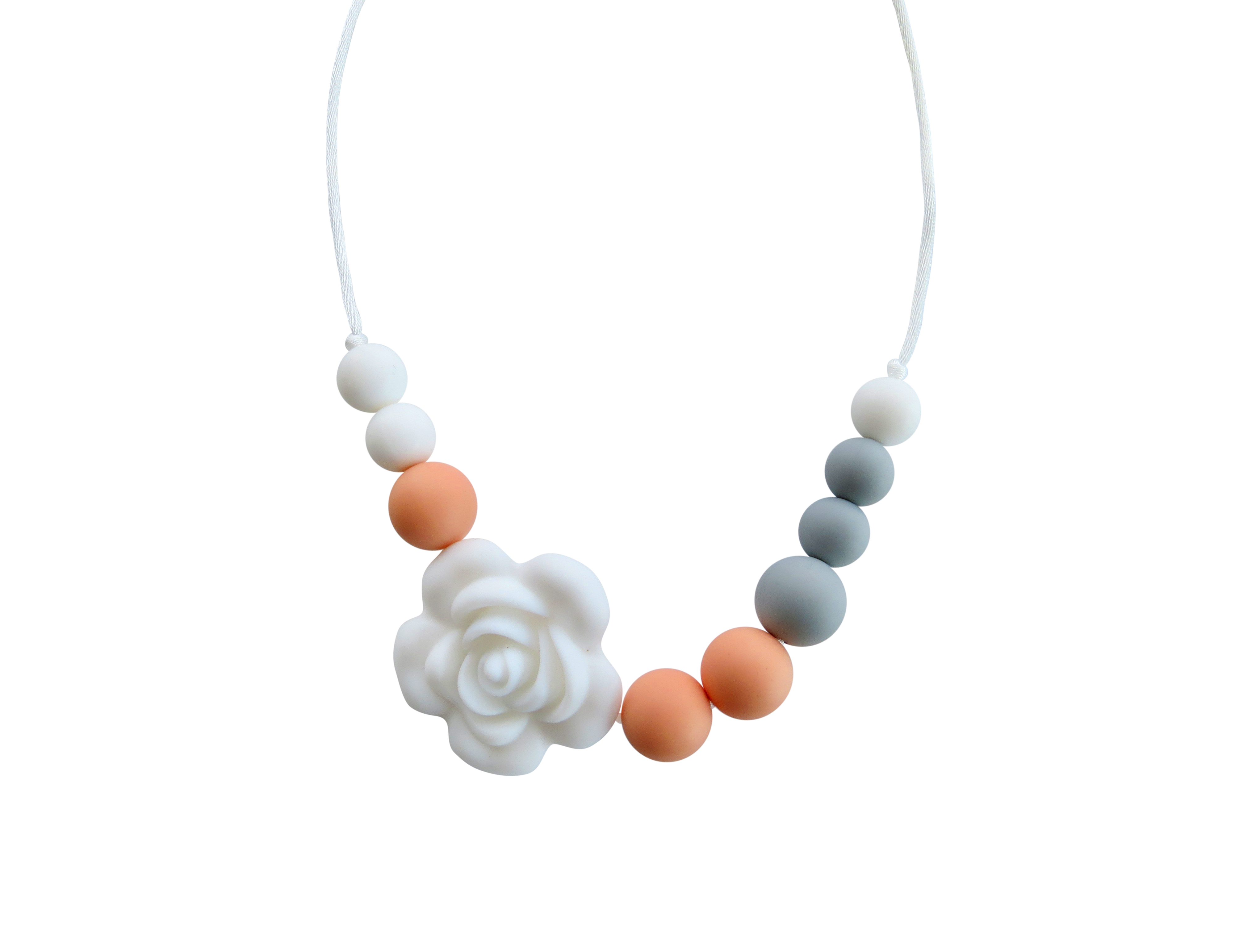TINY TEETHERS RC003 ROSE COLLECTION BEADS PEACH GRAY& A WHITE