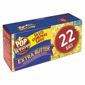 Microwave Popcorn, Extra Butter, 2.5oz Bag, 22/Box