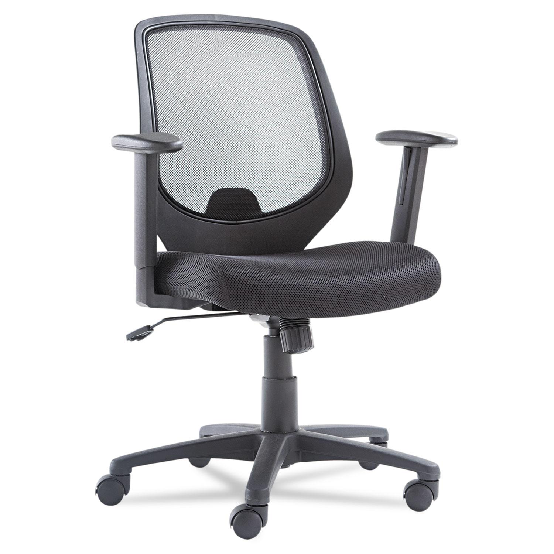 Swivel/Tilt Mesh Mid-Back Chair, Height Adjustable T-Bar Arms, Black