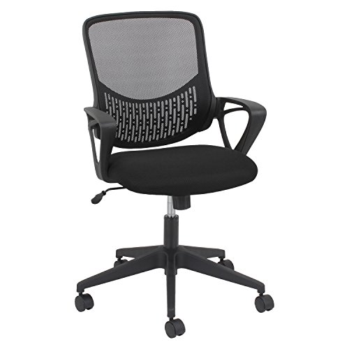 Modern Mesh Task Chair, Fixed Triangle Arms, Black