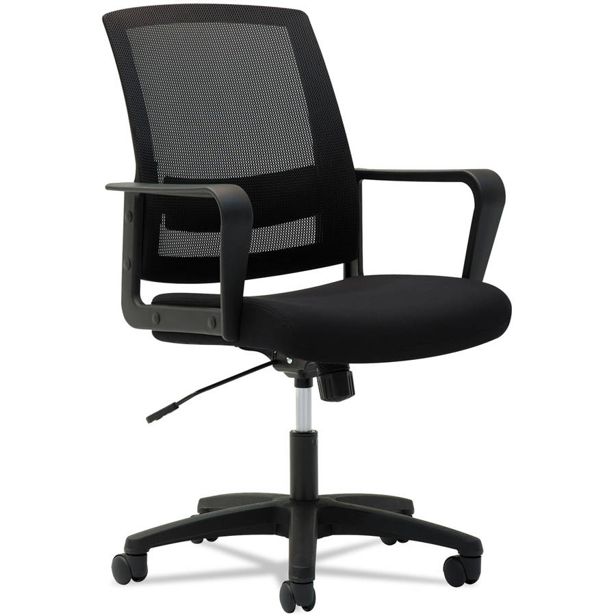Mesh Mid-Back Chair, Fixed Loop Arms, Black