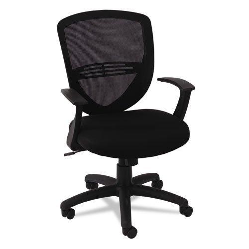 Swivel/Tilt Mesh Mid-Back Task Chair, Fixed Cantilevered Arms, Black