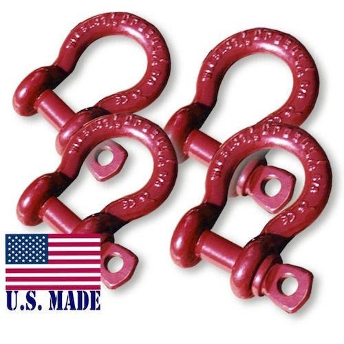 1/2 inch ATV Crosby-McKissick D-Shackles - North American Made (Set of 4) (ATV RECOVERY)