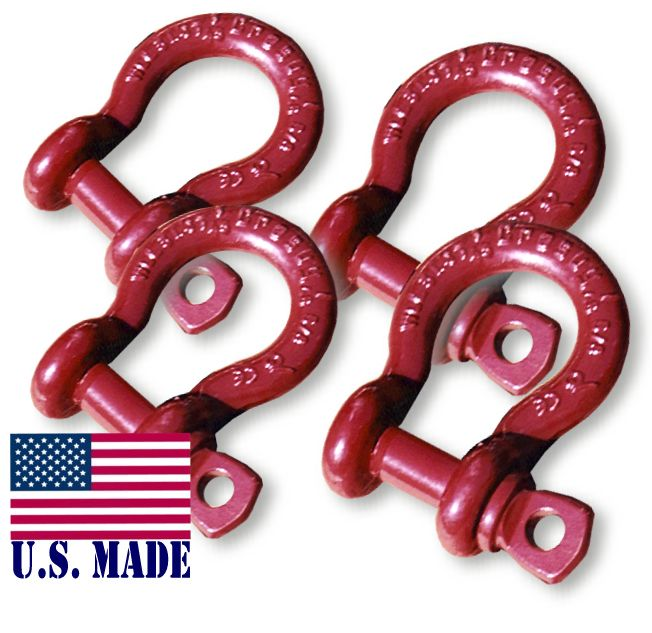1 inch MEGA Crosby-McKissick D-Shackles - North American Made (Set of 4) (4X4 VEHICLE RECOVERY)