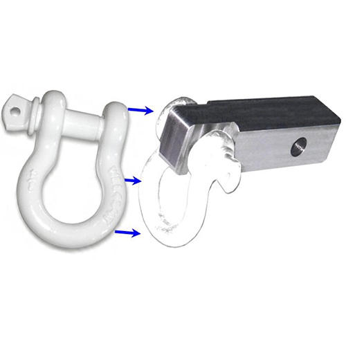 2 inch (Aluminum) Receiver Bracket w/ SUPER WHITE Powdercoated D-Shackle (OFF-ROAD RECOVERY)